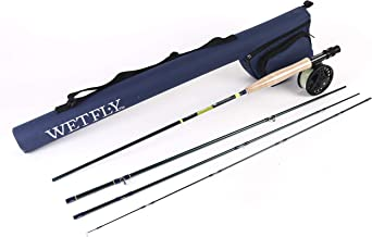 WETFLY Element Fly Fishing Combo - 4 Piece Fly Rod and Fishing Reel, Line and Backing with Rod Tube