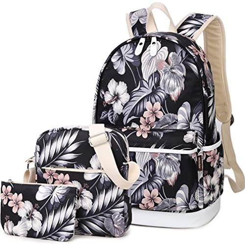 Hey Yoo 3pcs Casual Daypack Cute 3 Pieces Bookbag School Bag Laptop Backpack Sets for Girls