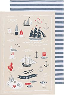 Now Designs 2232066aa Kitchen Dishtowels, Set of Two, Fish & Ships, Fish and Ships Print
