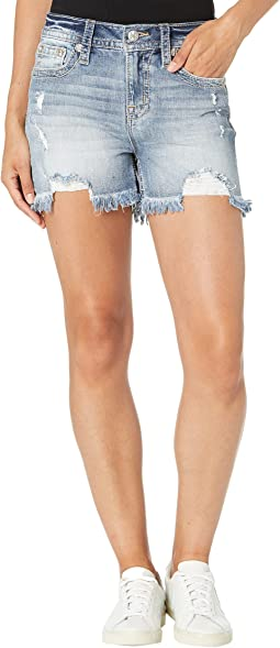 Embroidered High-Rise Shorts in Light Blue