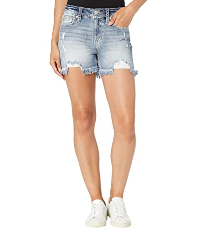 Miss Me Embroidered High-Rise Shorts in Light Blue