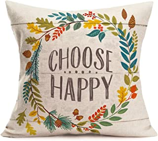 Aremetop Floral Quotes Decorative Pillow Covers Fresh Flowers Garland Inspirational Words Decorative Cotton Linen Throw Pillow Case Cushion Cover 18''x18'',Wood Grain Background (Choose Happy)