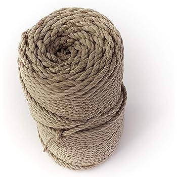 Cordón de macramé gris 4 mm 328 pies cuerda de algodón 0,16 pulgadas macramé cuerda 110 yard diy cuerda para manualidades cuerda colgador de planta cuerda de pared cuerda: Amazon.es: Hogar