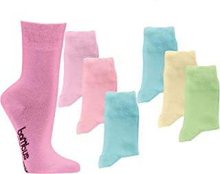 Wowerat, 6 pares de calcetines de bambú pastel, calcetines de bambú, sin goma, para mujer