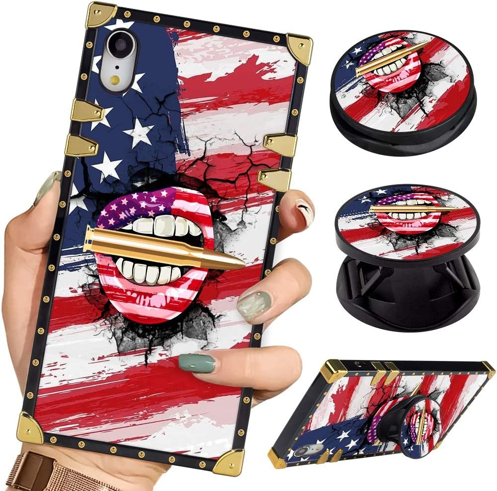 Luxury Square Phone Case iPhone XR Retro Elegant Soft TPU Design Cover for iPhone XR 6.1 inch 2018 (American Flag Lips Bullet)
