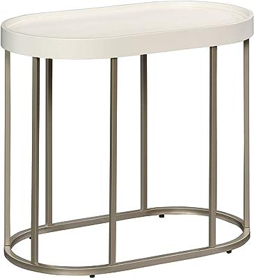 "Sauder Manhattan Gate Side Table, L: 25.0"" x W: 14.09"" x H: 21.14"", Ivory"