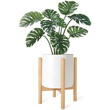 Mkono Plant Stand Mid Century Wood Flower Pot Holder (Plant Pot NOT Included) Potted Stand Indoor Display Rack Rustic Decor, Up to 10 Inch Planter, Natural