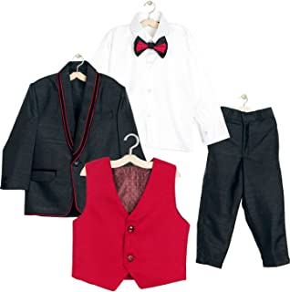 Jeet Creation Boys Black Coat Suit with Waistcoat, Shirt, Bow and Trouser Set (9025RH)