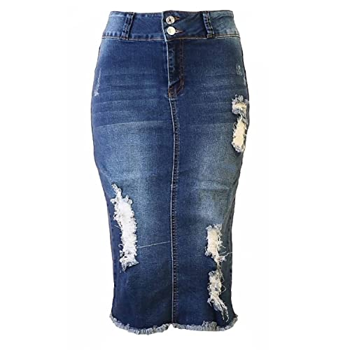 4a632b54cb Womens Junior/Plus Size Below Knee Length Midi Pencil Ripped Denim Skirt