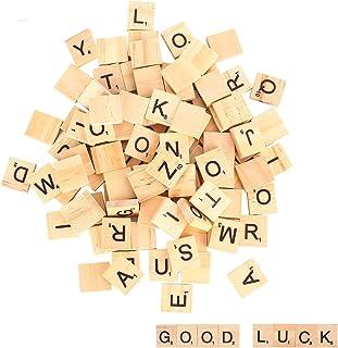 moinkerin 100 Pièces Lettres en Bois, Puzzle Alphabets A à Z, 100 en Bois Artisanat pour Les Cadeaux en Bois des Enfants, ...