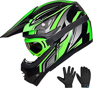 ILM Youth Kids ATV Motocross Dirt Bike Motorcycle BMX Downhill Off-Road MTB Mountain Bike Helmet DOT Approved (Youth-XL, Green/Silver)