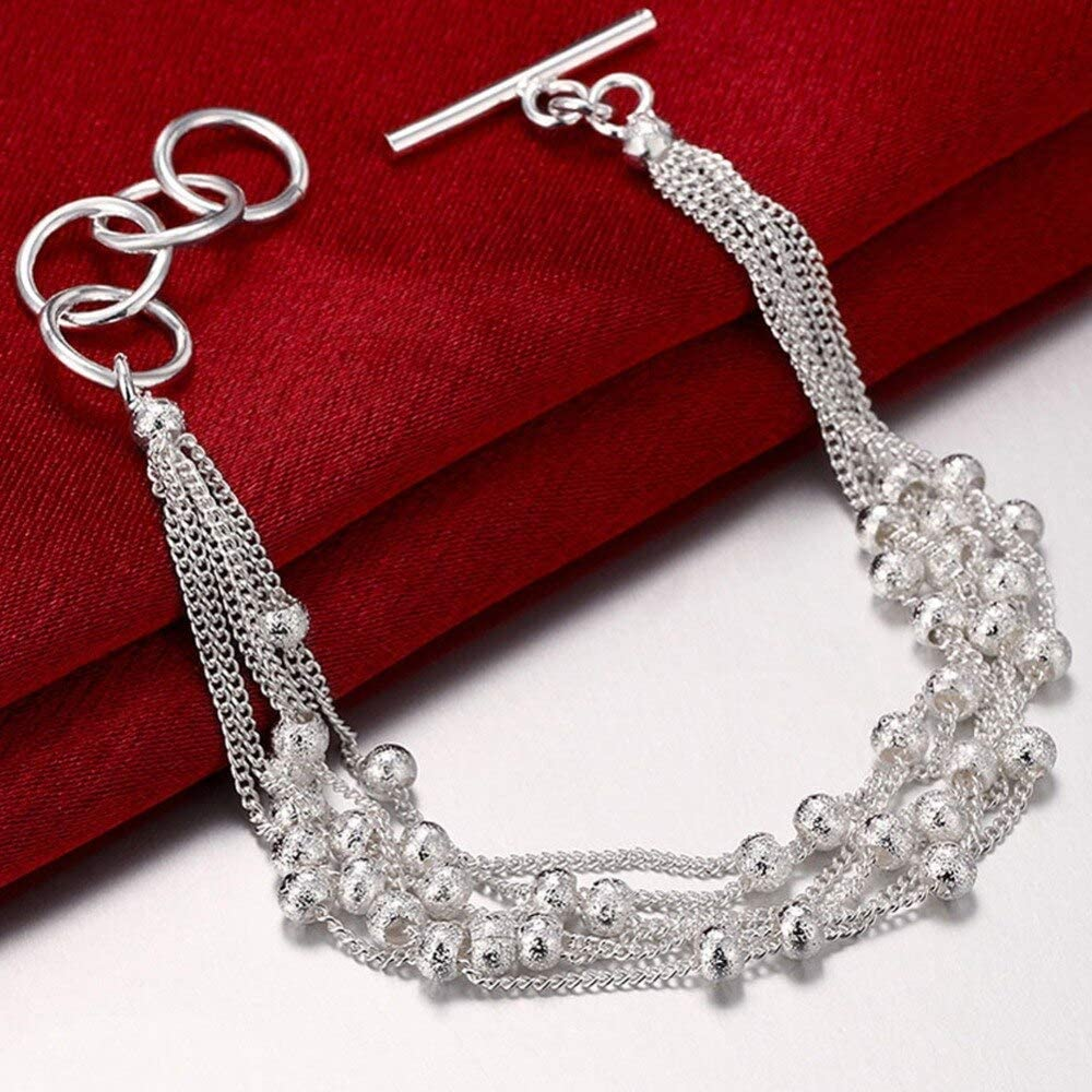 New Simple 25% OFF Style 925 Silver Fashion for Classic Wom Scrub Bracelets Bead