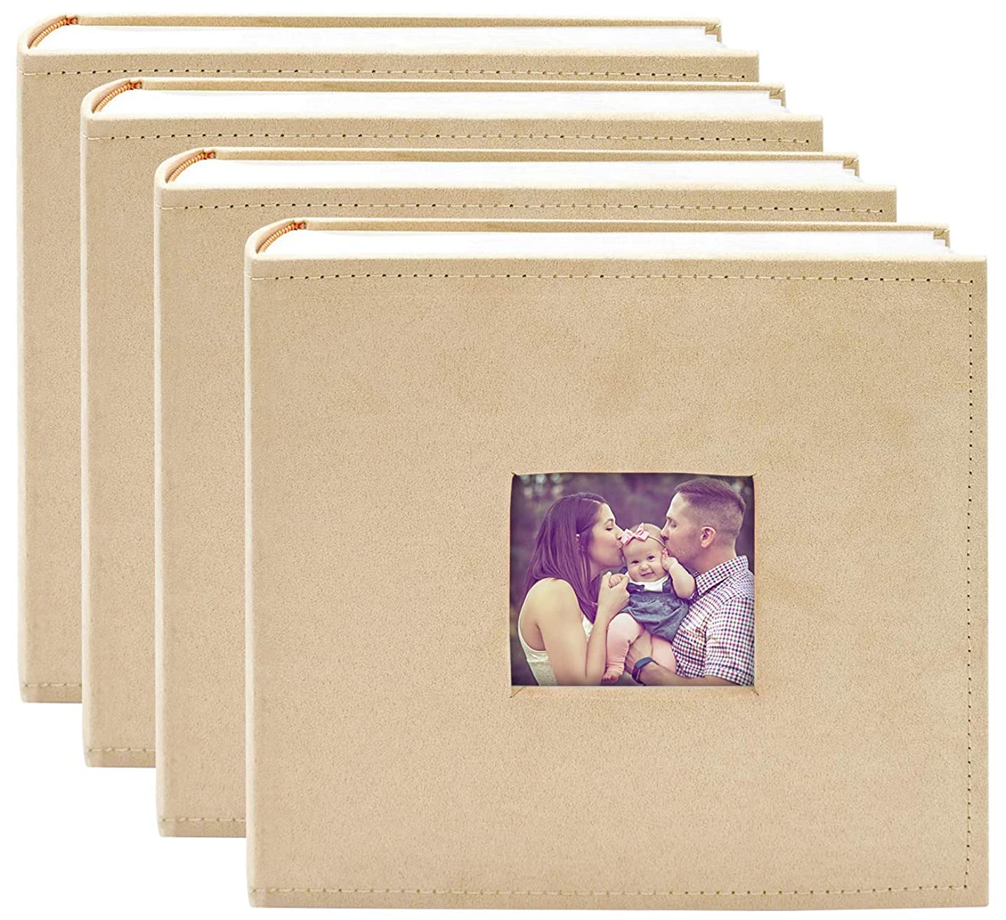 Golden State Art , Beige Suede Cover Photo Album, Holds 200 4x6 Photos, 2 per Page,Set of 4