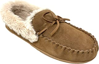 Clarks Women's Faux Fur Lined Moccasin House Shoe Indoor & Outdoor Slipper