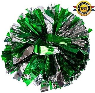 PUZINE Pack of 2 Cheerleading Metallic Foil & Plastic Ring Pom Poms Cheerleading Poms