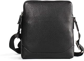 Shoulder Bags Genuine Leather Men's Bag Casual Messenger Bag Men's Diagonal Package Vertical Leather Business Bag Fashion High-end Work Bag Black Adjustable Shoulder Strap Leather Bag 4L