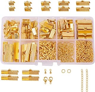 PandaHall Elite About 410 Pcs Jewelry Finding Kits with Ribbon Clamp End, Jump Ring, Lobster Claw Clasps, Extender Chain, Drop Ends for Jewelry Making Golden