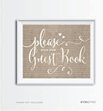 Andaz Press Wedding Party Signs, Country Chic Burlap Print, 8.5x11-inch, Please Sign Our Guestbook, 1-Pack
