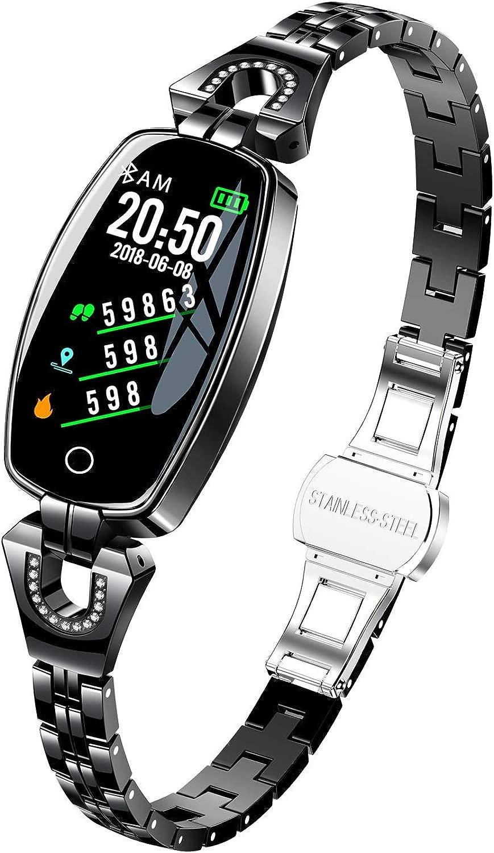 LUGEUK Smart Bracelet HD Farbdisplay Wasserdichtes Herzfrequenz-Blautdruck-Gesundheitstest-Arm d for Frauen (Farbe   A)