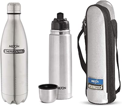Milton Thermosteel Flip Lid Flask, 1 Litre, Silver and Duo Deluxe-1000 Bottle Style Vacuum Flask, 1 Litre, Silver Combo