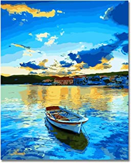 Rihe Paint by Numbers Kits DIY Oil Painting for Adults Kids Beginner - Lakeside Village 16 x 20 inch with Brushes and Acry...