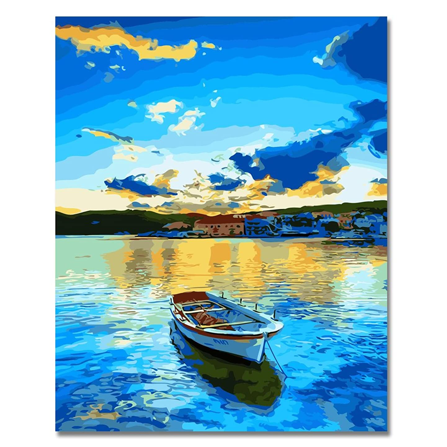 LIUDAO Paint by Numbers Kit for Adults and Kids DIY Oil Painting on Canvas - 16x20 Inch Without Frame (Lake Boat Blue)