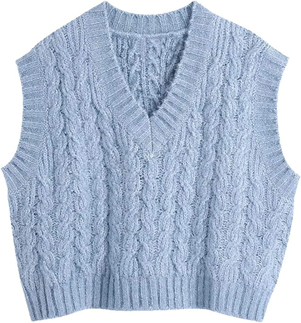 Women Sweet Oversized Cable-Knit Vest Sweater Vintage V Neck Sleeveless Waistcoat Chic Tops