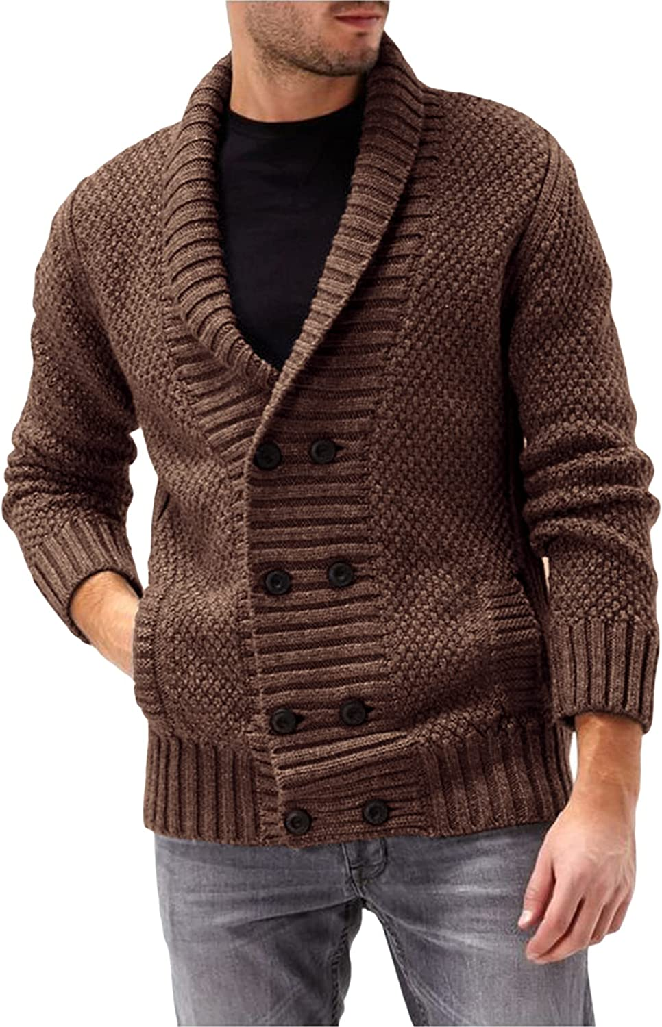 Men's Cable Knit Cardigan Casual Shawl Collar Sweater Double Breasted Knitted Loose Fit Long Sleeve Cardigans