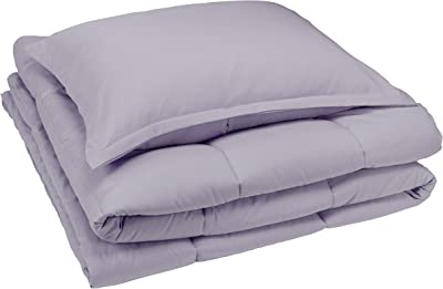 AmazonBasics Comforter Set, Twin / Twin XL, Dark Grey, Microfiber, Ultra-Soft