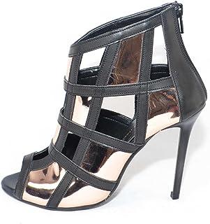 4b971bfa4a46f8 Scarpe Tronchetto Donna a Scacchi Forma Quadrata Forato in Pelle Nero e  Specchio Rosa Tacco a