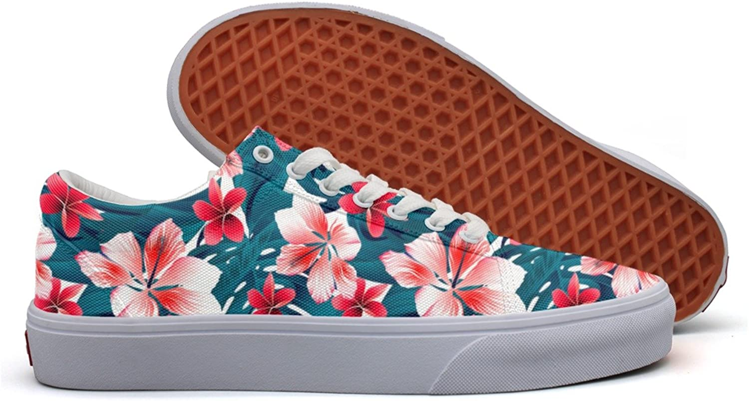 Charmarm Red And White Tropical Hibiscus Flowers Womens Cute Low Top Canvas Running shoes