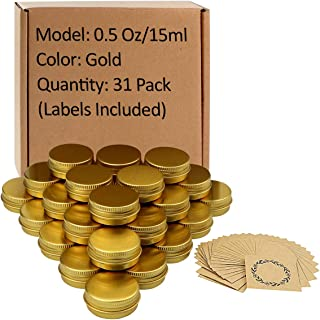 31pcs 0.5oz/15ml Gold Aluminum Tin Jar with Screw Lid and Blank Labels