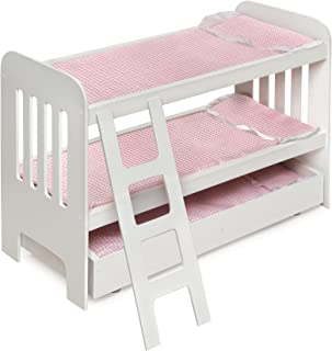 Trundle Doll Bunk Bed with Bedding, Ladder, and Free Personalization Kit (fits American Girl Dolls)