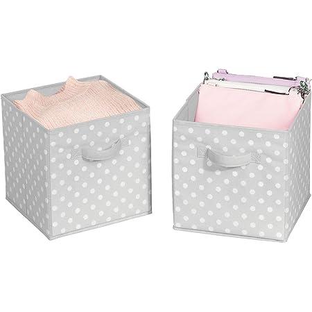 mDesign boîtes de rangement petit (lot de 2) – casiers de stockage pratiques pour une armoire parfaitement rangée dans la chambre, le couloir, etc – petites caisses de rangement en tissu – gris/blanc