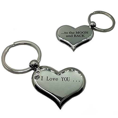 Heart Keychain I Love You to The Moon and Back Both Sides Engraved Romantic Couple Gift