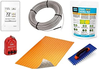 Schluter Ditra DUO Signature Floor Heating Kit -204 Square Feet- Includes WiFi Touchscreen Programmable Thermostat, DUO Membrane, Heat Cable DHEHK240204, Safe Installation Kit, Heat Enhancing Additive