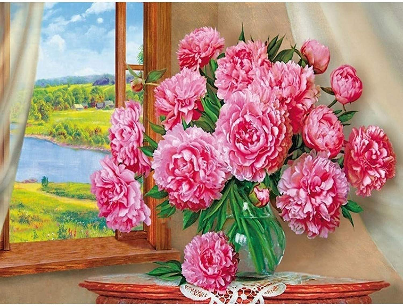 comprar ahora DIY 5D Mosaico Bordado Diamante Flores Pintura Diamante Flores Flores Flores Completa Ronda Taladro Resina Decoración de Jardín, 80X100Cm  garantizado