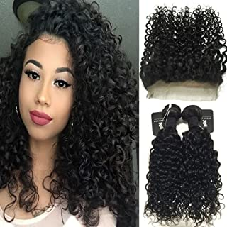 """RISSING 360 Frontal with 2 Bundles Deep Curly Hair, Brazilian Curly Hair Bundles Deals Remy Human Hair Extensions Free Part 8A Soft Thick (16""""18"""" & 14"""")"""
