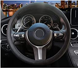 OHF Steering Wheel Cover Auto Car Silicone Great Grip Anti-slip Steering Cover for Diameter 36-38cm/14-15inch (Black)