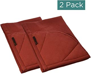 Rachael Ray Kitchen Towel, Oven Glove Moppine - 2-in-1 Ultra Absorbent Kitchen Towels with Heat Resistant Padded Pockets Like Pot Holders and Oven Mitts to Handle Hot Cookware - Brick Red, 2 Pack