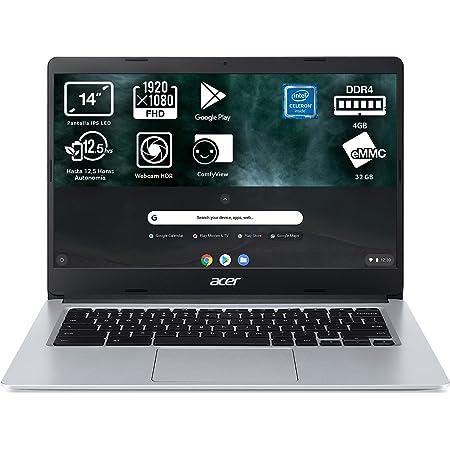 "Acer Chromebook 314 - Ordenador Portátil 14"" FullHD (Intel Celeron N4020, 4GB RAM, 64GB eMMc, Intel UHD Graphics, Chrome OS), Color Plata - Teclado Qwerty Español"