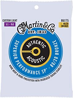 Martin Authentic Acoustic MA175 Custom-Light-Gauge Acoustic Guitar Strings, 80/20 Bronze