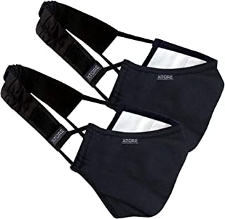 Xtore N-95 Cotton Washable Mask -(Ebony Black, Without Valve, Pack of 2 mask, 2 Filter & 2 Head Band, FDA CE Certified)