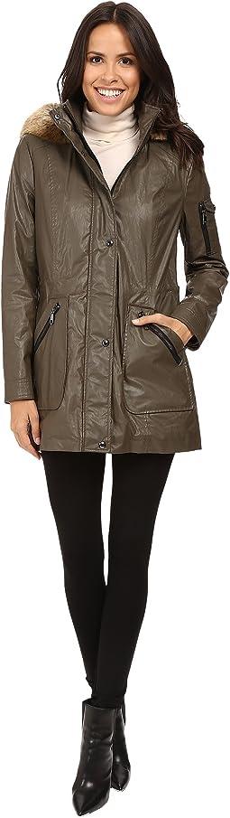 Waxy Rain Anorak with Detachable Faux Fur Hood
