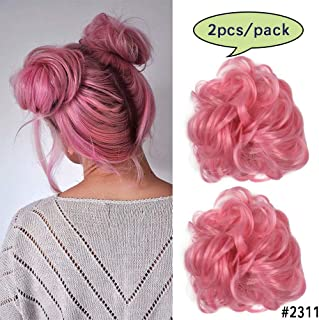 Pink Hair Bun Extensions Wavy Curly Messy Donut Chignons Hair Piece Wig Hairpiece 2pcs/package 2311#