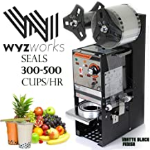 WYZworks 350W Semi Automatic Tea Cup Sealing Machine 300-500 cups/hr for Bubble Boba Milk Tea Coffee Smoothies Sealer