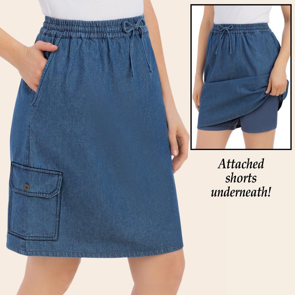 Ladies Womens Pocketed Denim Wrap Skort Mini Skirt Beach Shorts Pants Work OL US