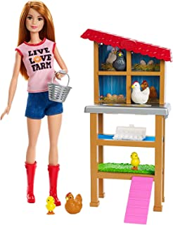 Barbie Chicken Farmer Doll, Red-Haired, and Playset with Henhouse, 3 Chickens, 2 Chicks and More, Career-Themed Toy for 3 to 7 Year Olds​​​