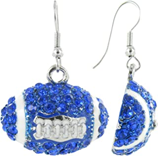 Dome Football Rhinestone Fish Hook Earrings (Royal Blue and White)