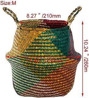 Flower Pots Decorative Newly Flower Pots Planters Flower Basket Vase Home Garden Foldable Seagrass Woven Storage Baskets,4